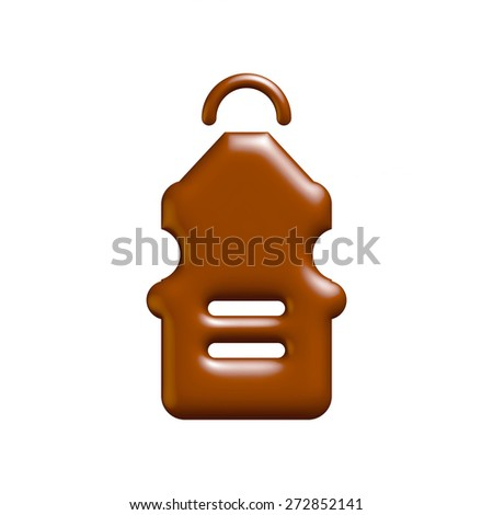 Elegant Food Icon in chocolate on isolated white background. - stock photo