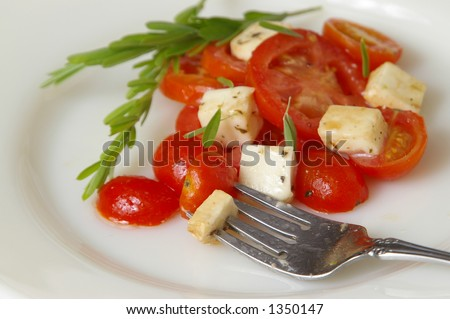 Elegant fork spears a cherry tomato and cheese. Shallow DOF, main focus on fork. - stock photo