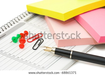 Elegant fountain pen on paper with clipping path - stock photo