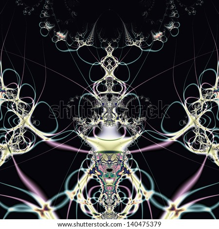 Elegant fractal design, abstract psychedelic art, flower queen - stock photo