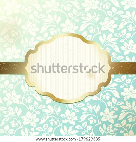 Elegant frame banner with ornate wallpaper background