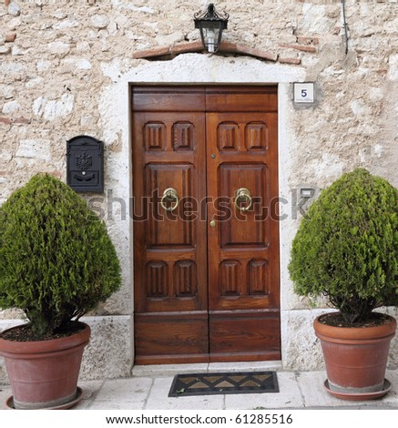 elegant front door, Italy - stock photo
