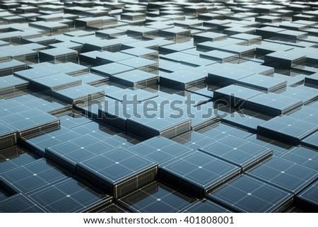 Elegant futuristic metallic cube background with grid line. 3d Rendering. - stock photo