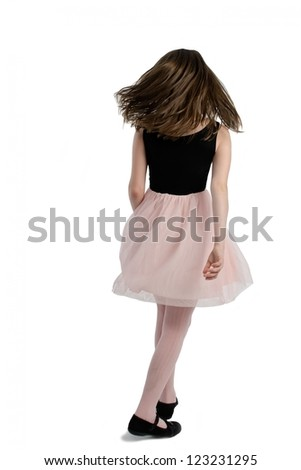 Elegant girl with long hairs walking, back view - stock photo