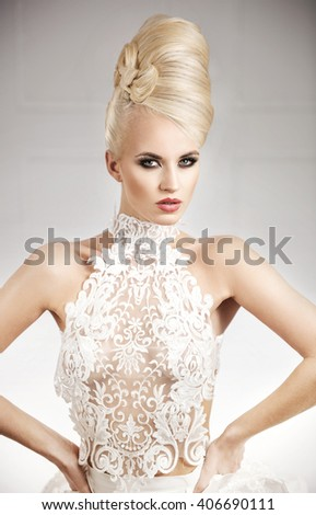 Elegant glamorous blonde beauty - stock photo