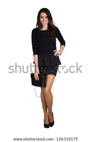 Elegant glamour woman wearing black skirt
