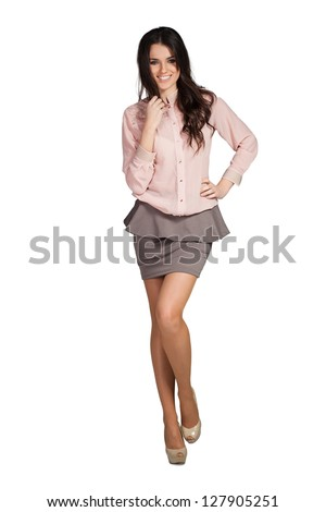 Elegant glamour woman wearing red skirt - stock photo