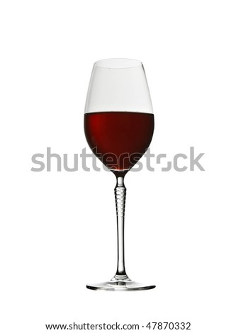 elegant glass of red wine - stock photo