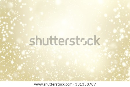 Elegant glittering Christmas background with snowflakes and place for text - Abstract Gold  christmas lights - stock photo
