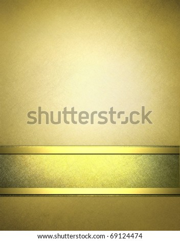 elegant gold and beige parchment background with fancy gold trim, graphic art design layout, soft grunge scratch texture, highlights and lighting, and copy space to add your own text, title, or image - stock photo