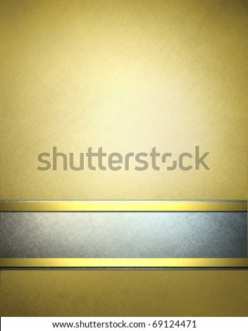 elegant gold and silver gray parchment background with fancy gold trim, graphic art design layout, soft grunge scratch texture, highlights and lighting, and copy space to add text, title, or image - stock photo