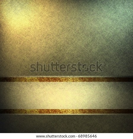 elegant gold background paper with sunny spotlights, graphic art design layout, grungy texture, and dark gold and brown stripe for copy space to add your own text or title - stock photo