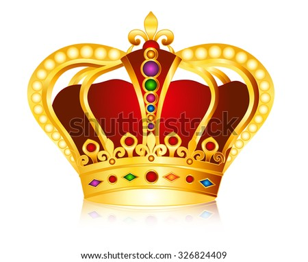 Elegant gold crown with colorful glowing jems , diamonds and pearls / beads illustration isolated on white background.