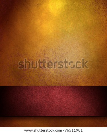 elegant gold distressed background with texture and highlight, rich red ribbon stripe in graphic art design layout for copy space to add your own text or title - stock photo