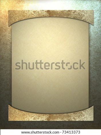 elegant gold frame with deep grunge background texture, bright highlights, unique border, and empty solid beige parchment layer design with copy space to add your own image, title, or text, - stock photo
