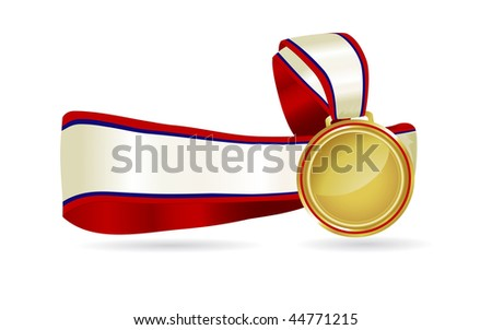 Elegant gold medal on a red and blue ribbon with space for type. Great for olympic celebrations, sports days or to promote a special event. - stock photo