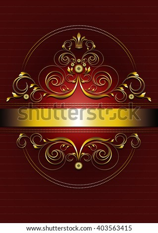 Elegant gold oval frame with curlicues,petals and crown on red texturedbackground - stock photo
