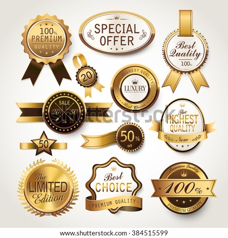 elegant golden labels collection set for retail usage - stock photo