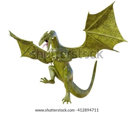 Elegant goldish-green dragon isolated on white background 3d illustration - stock photo