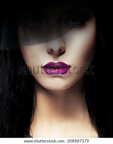 Elegant Gorgeous Aristocratic Lady with Dark Veil - stock photo
