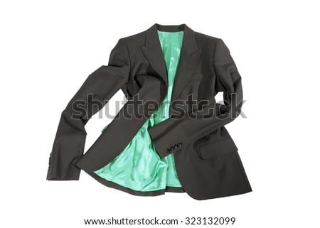 Elegant gray female jacket with green lining  isolated over white - stock photo