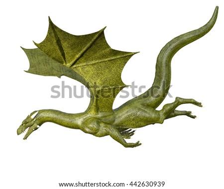 Elegant green dragon isolated on white background 3d illustration - stock photo