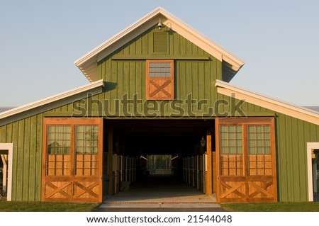 Elegant green farm barn office - stock photo
