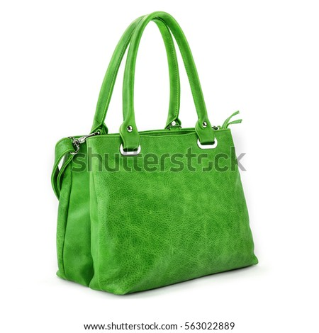 Elegant Green leather woman's handbag isolated on white background