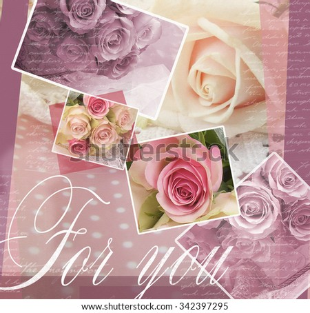 Elegant greeting card design with roses. Beautiful background with roses for congratulations and invitations. Wedding pattern with flowers roses. Floral illustration.