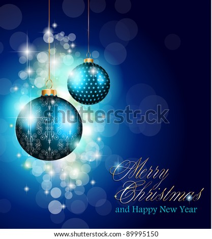 Elegant greetings background for flyers or brochure for Christmas or New Year Events with a lot of stunning Colorful baubles. - stock photo
