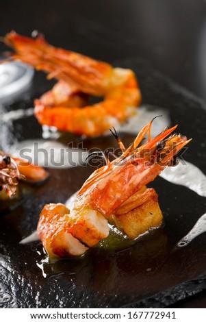elegant grilled shrimps - stock photo
