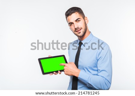 elegant handsome man in blue shirt showing a tablet, isolated on white - stock photo