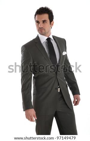Elegant handsome man on white background - stock photo