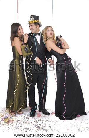 elegant happy couple at a new year party with a girl ugly - stock photo