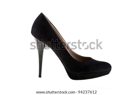Elegant high heel shoes on white background. Black footwear.