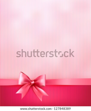 Elegant holiday background with gift pink bow and ribbon. Raster version