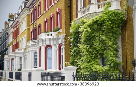 Elegant Houses at London. Typical Apartments Building at West-London. - stock photo