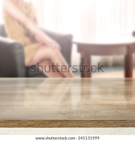 elegant interior of room and wooden desk space  - stock photo