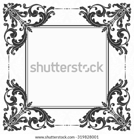 Elegant invitation. Decorative vintage frame. Beautiful floral invitation card. Damask illustration. - stock photo
