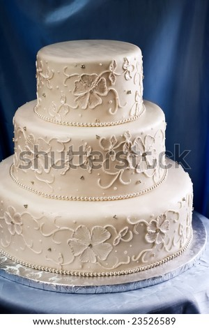 wedding cake elegant design ivory wedding cake piped embroidered stock photo 22565