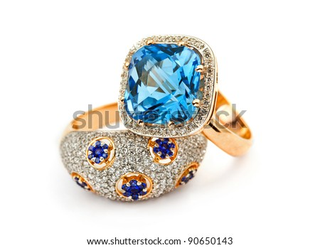 Elegant jewelry ring with jewel stone sapphire - stock photo