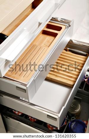 Elegant kitchen drawers - stock photo