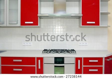 Elegant kitchen in a modern house - stock photo