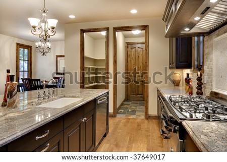 Elegant Kitchen with Granite Counter - stock photo