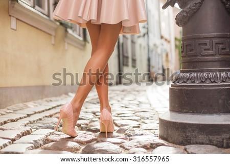 Elegant lady wearing high heels - stock photo