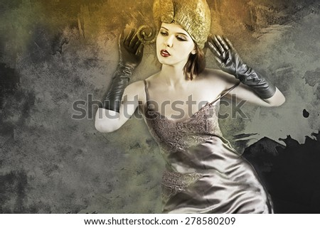 Elegant lady with hat and gloves,silk Lingerie. - stock photo