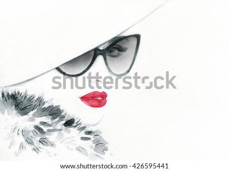 Elegant lady with sunglasses. Fashion watercolor illustration - stock photo