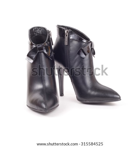 elegant leather ankle boots closeup