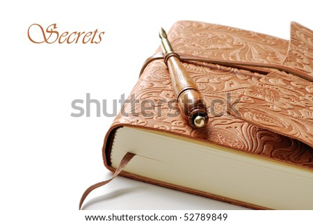 Elegant leather journal with calligraphy pen on white background.  Macro with shallow dof and copy space. - stock photo