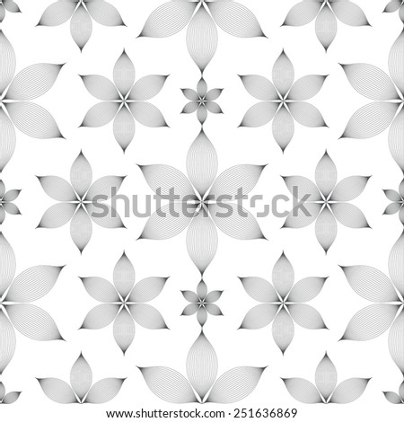 elegant linear floral seamless pattern over white background - stock photo